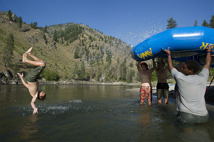 A watered down inverted raft made for some awesome play time  for the St. Croix Boy Scouts at a campsite on their whitewater rafting trip down the Salmon River in northern Idaho.